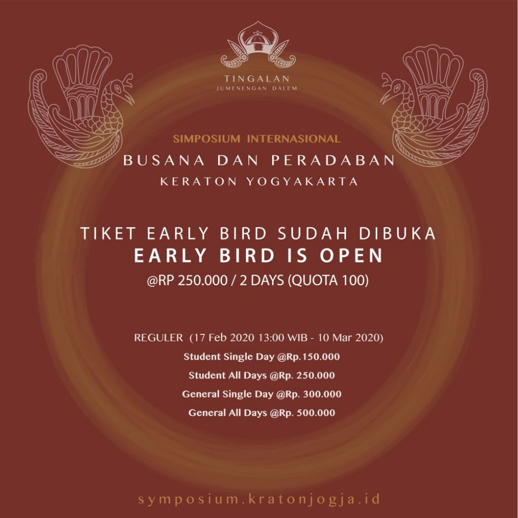 Harga Tiket Early Bird Simposium Internasional Kraton Jogja 2020