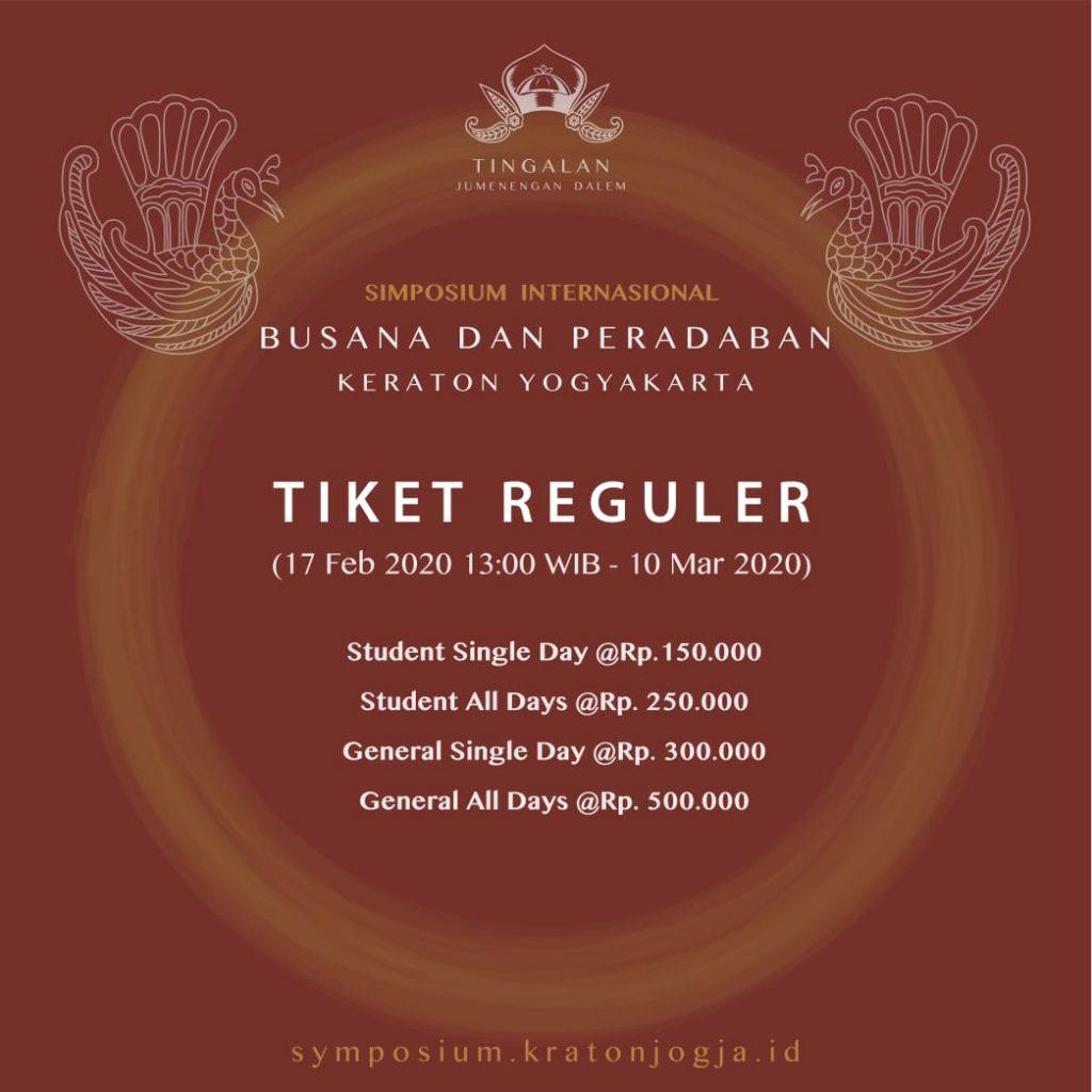 Harga Tiket Reguler Simposium Internasional Kraton Jogja 2020